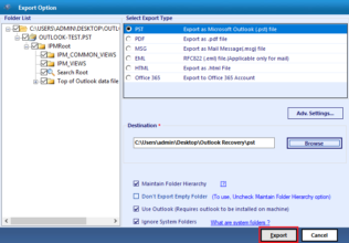 export recovered emails to PST file